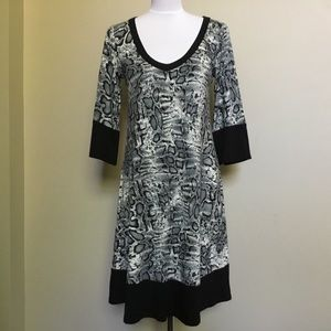 $120 KAREN KANE gray python snakeskin knit dress M